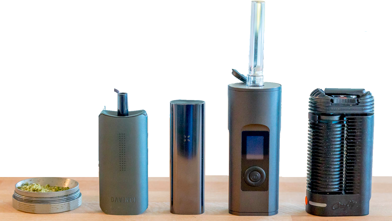 Vapourizer Image with Solo 2 Arizer, Pax, Crafty and Da Vinchi in one image